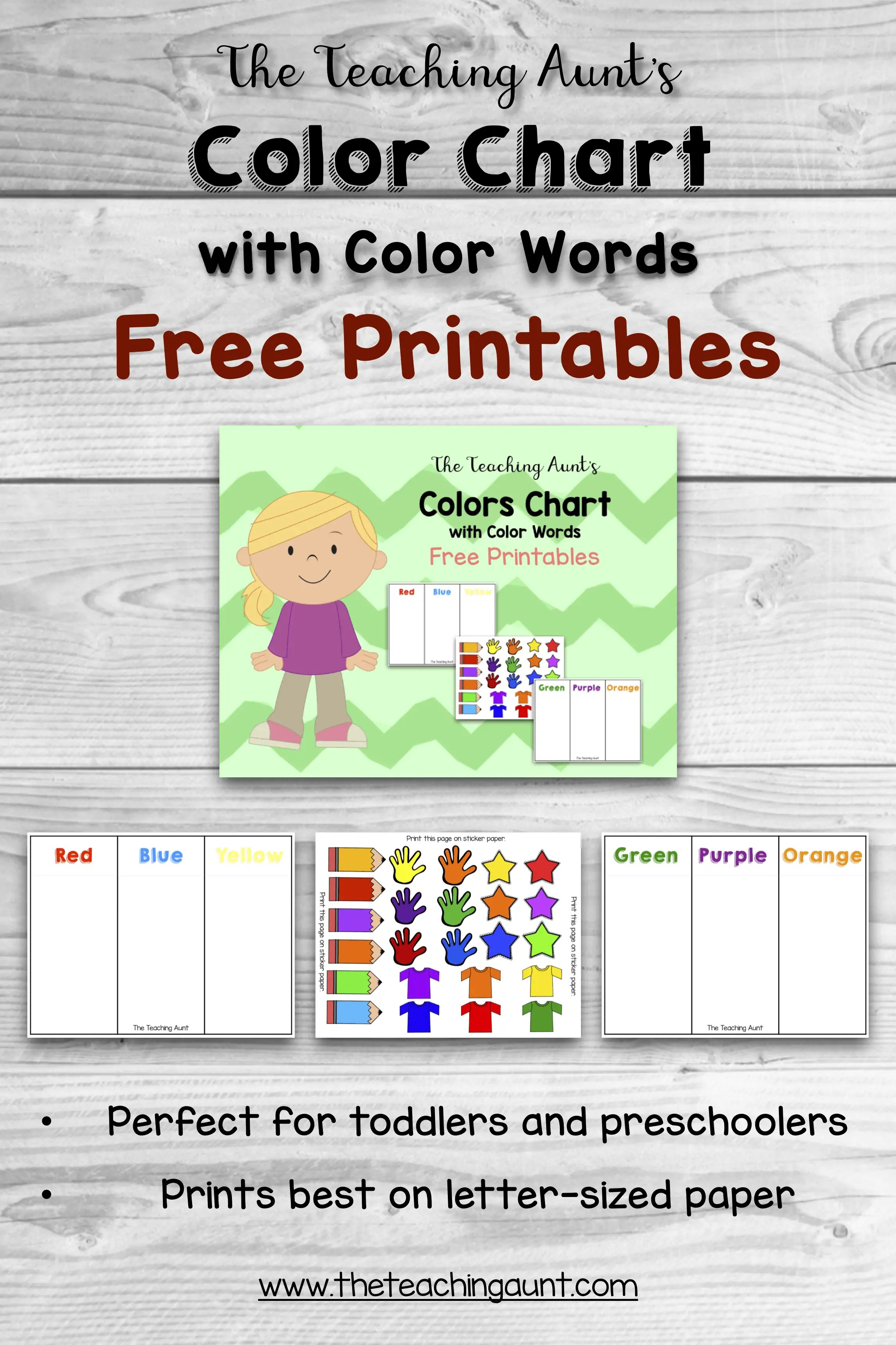 photo about Printable Color Chart titled Coloration Charts for Babies and Preschoolers Absolutely free Printable