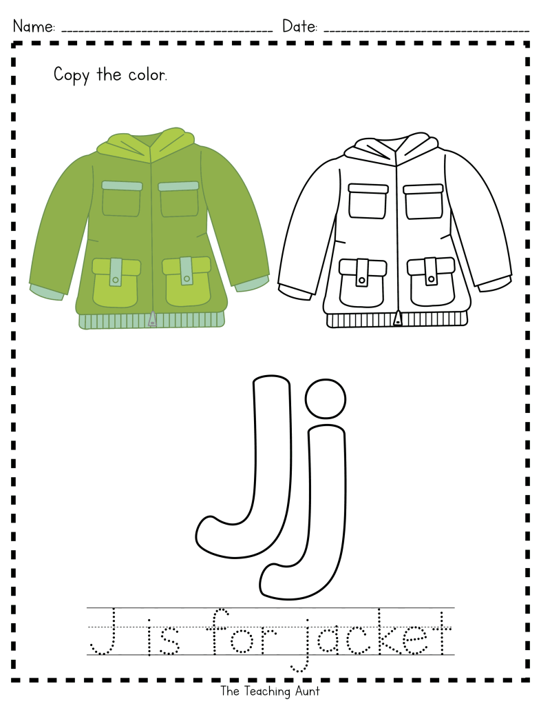 J is for Jacket: Paper Pasting Activity - The Teaching Aunt