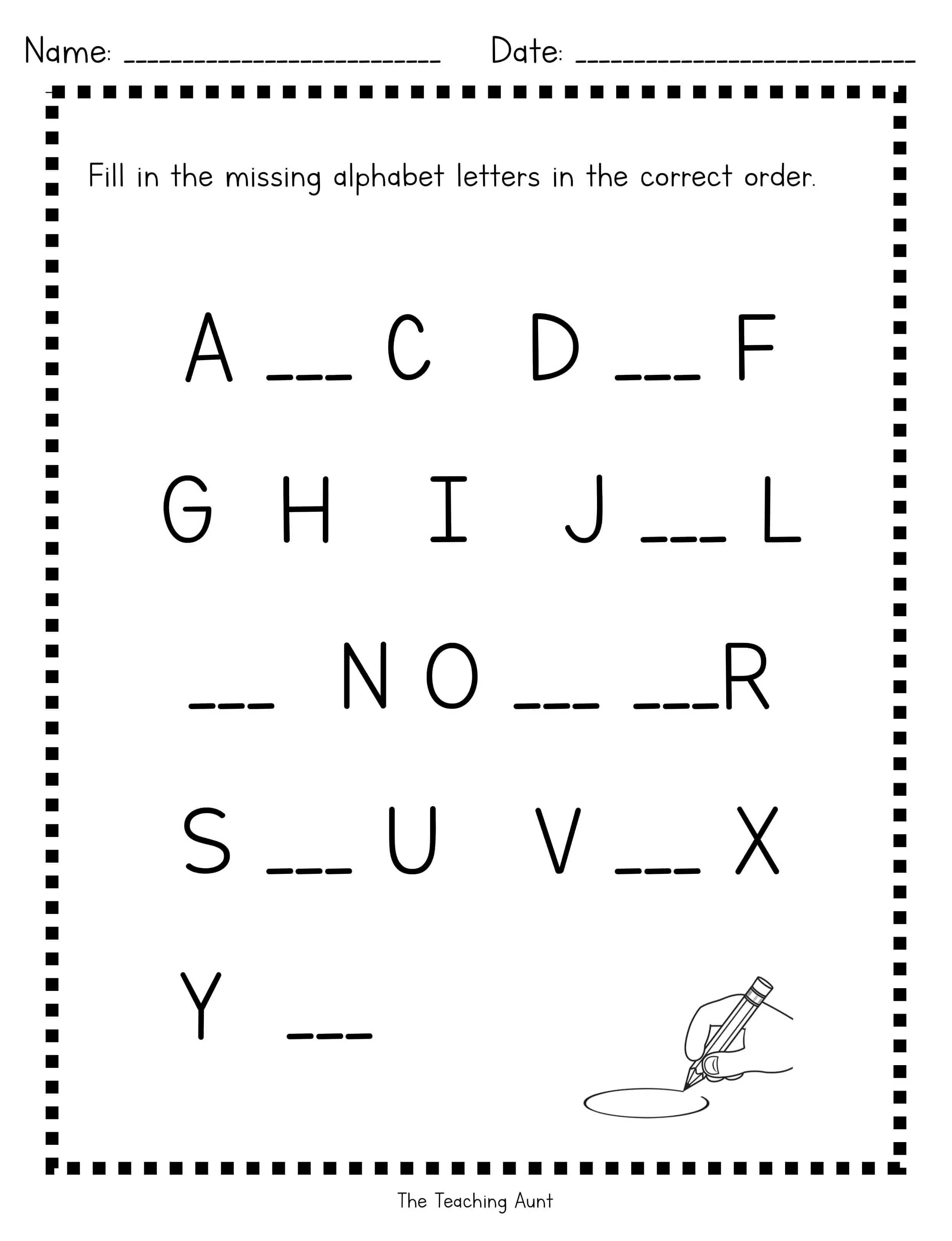 - Missing Uppercase Letters Worksheets - The Teaching Aunt