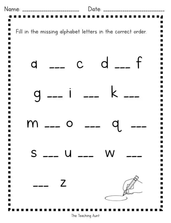Missing Lowercase Letters Worksheets - The Teaching Aunt