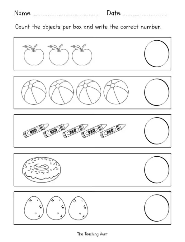 Counting Objects Worksheets - The Teaching Aunt