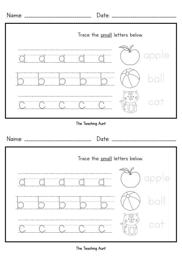 Lowercase Letters Tracing Worksheets (Set 2) - The ...