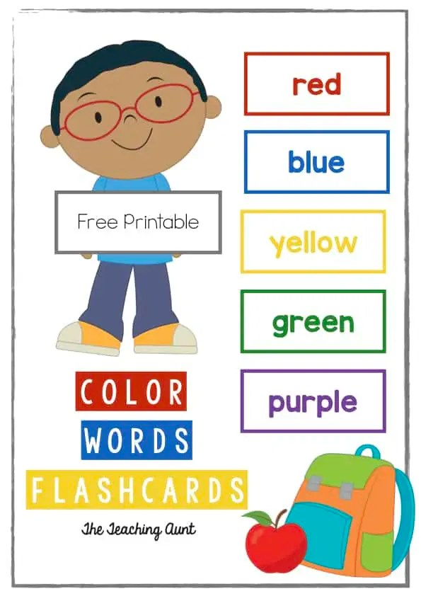 It's just a photo of Printable Color Flashcards for Toddlers within kindergarten