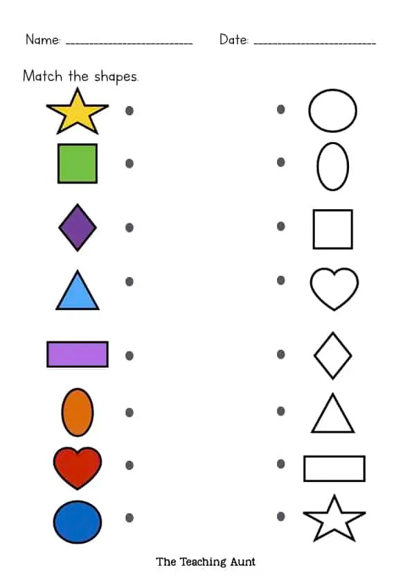 Matching Shapes Worksheets - The Teaching Aunt