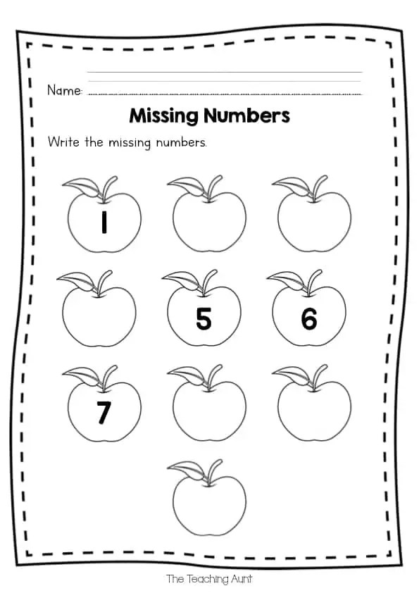 Free Missing Numbers Worksheets - The Teaching Aunt