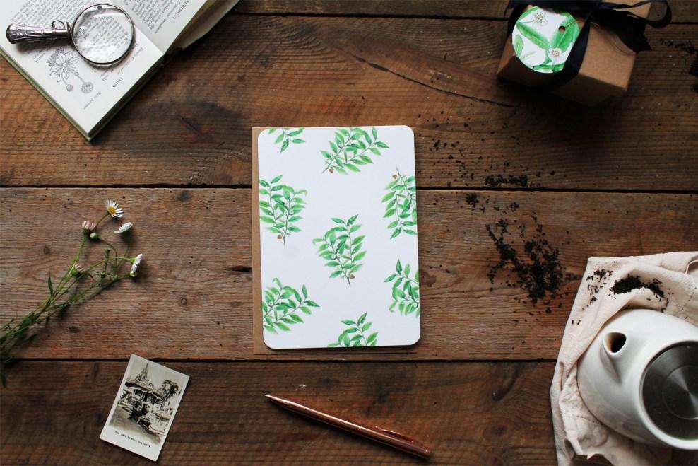 Tea Plant Pattern Greeting Card