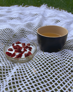 A bowl of yogurt with dried cranberries and a cup of The Tea In Me Popped Plot Twist tea