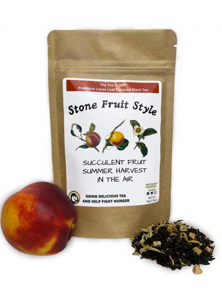 Kraft bag of The Tea In Me Stone Fruit Style loose leaf tea