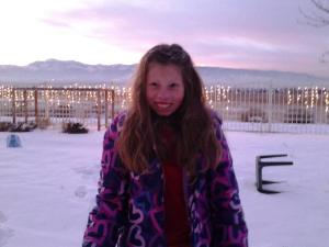 Lillian in Snow 2013 or 2014 - Fire Poppy
