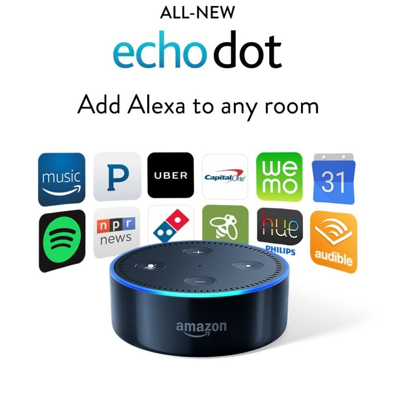 "The Echo Dot, which let's you issue commands with ""Echo"" or ""Alexa."""