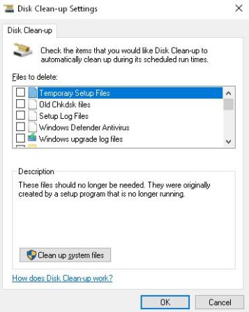 disk clean up setting windows