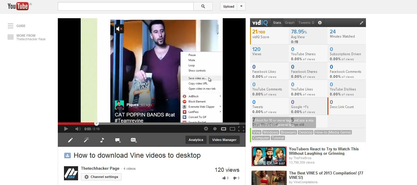 Get Detailed Video Stats In YouTube With vidlQ Vision For Chrome