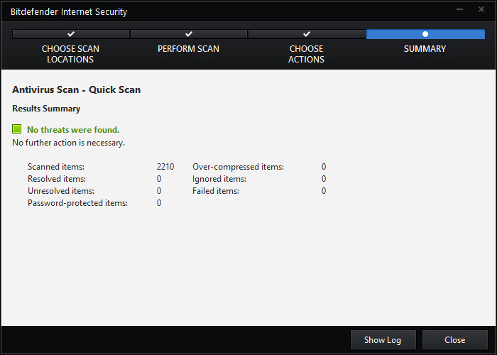 Bitdefender Quick Scan Results