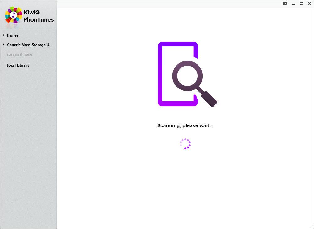 KiwiG PhonTunes Device Scanning