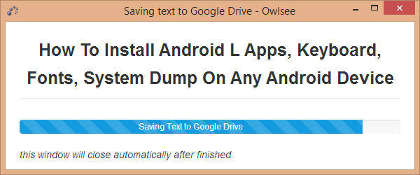 Save text to Google Drive Saving