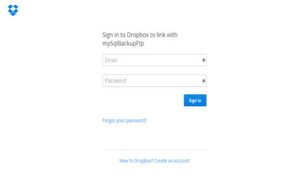 SQLBackupAndFTP Dropbox Authorization
