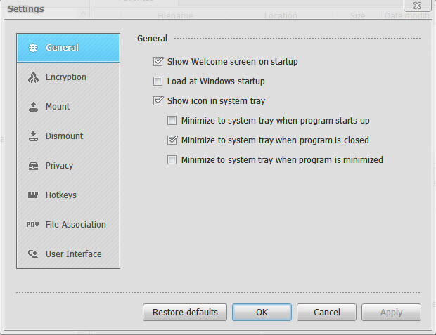 Privacy Drive Settings