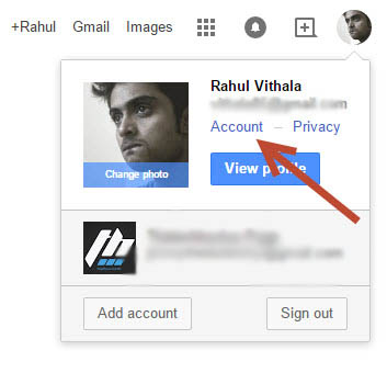 Google Account Settings popup