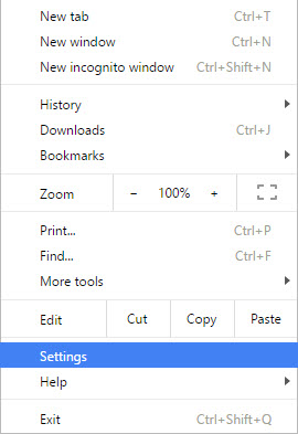 Settings Window in Chrome