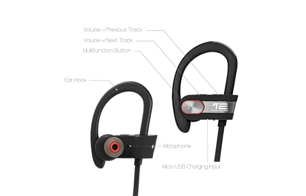 TechElec SP-X Sweatproof Bluetooth Headphones-1