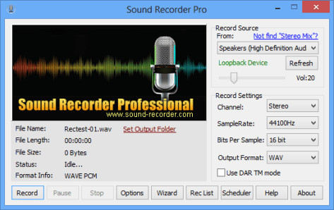 Sound Recorder Pro Interface