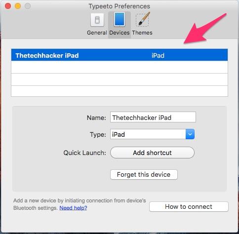 Typeeto_Preferences iPad Connection