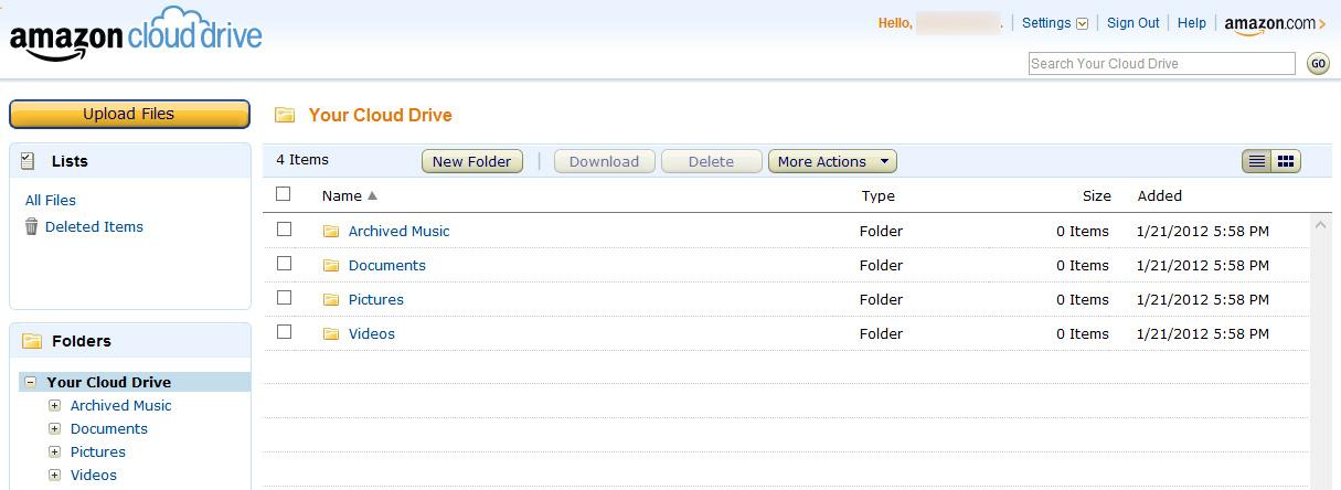 Amazon Cloud Drive Interface