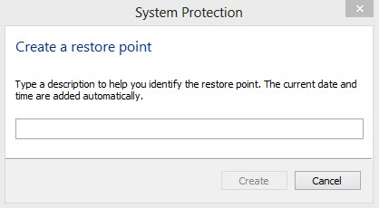 System Restore Point Name in Windows 8