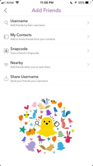 Snapchat Add friends options