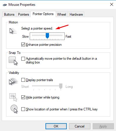 Pointer Speed Windows
