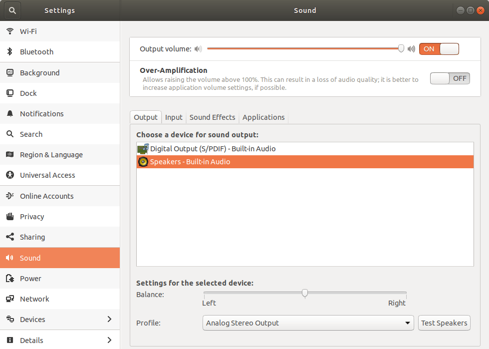 Sound Settings Window in Ubuntu