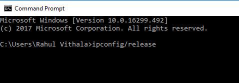 CMD ipconfig release