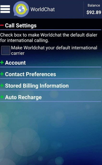 WorldChat App Settings