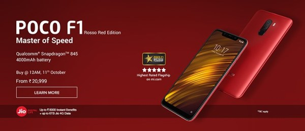 Rosso Red Poco F1 Goes On Sale In India On October 11th