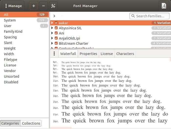 Font Manager on Ubuntu
