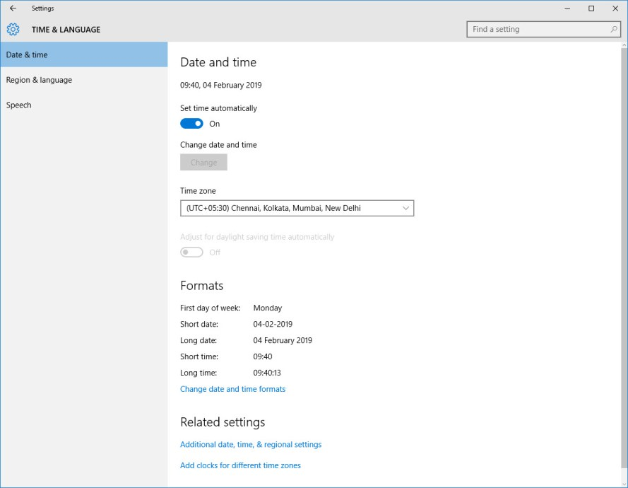 Adjust Date and Time in Windows 10