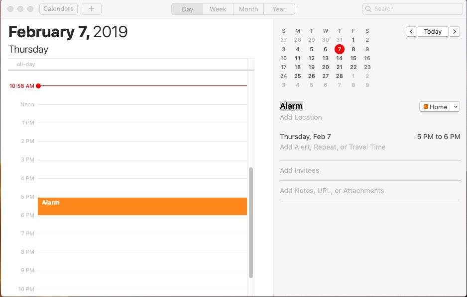 Setting alarm on Calendar app for Mac OS