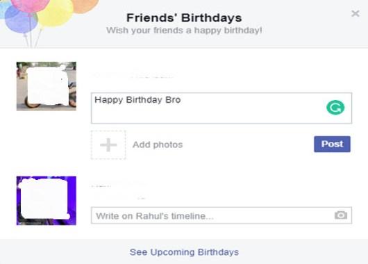 Facebook Notifications on Birthdays