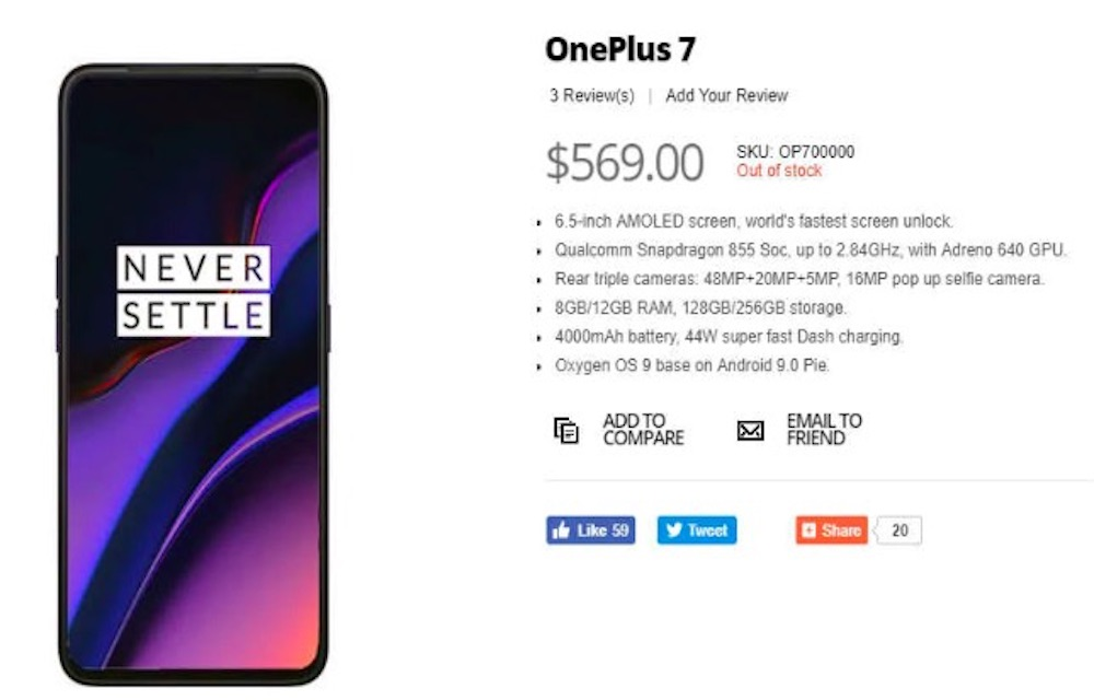OnePlus 7 complete specifications leaked on a retailers website