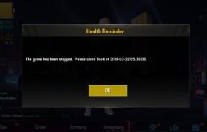 PUBG Mobile Health reminder