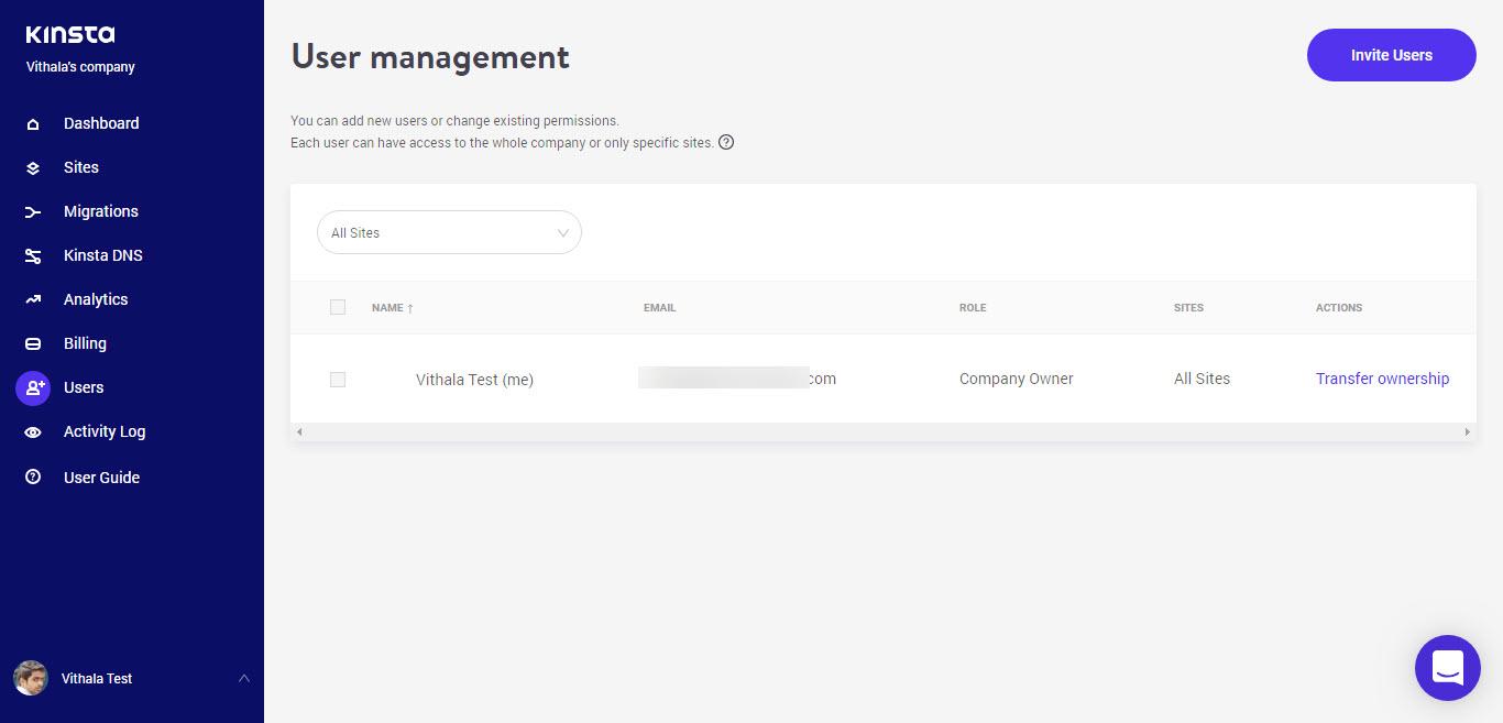 Kinsta User Management
