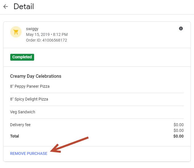 Google Purchase History