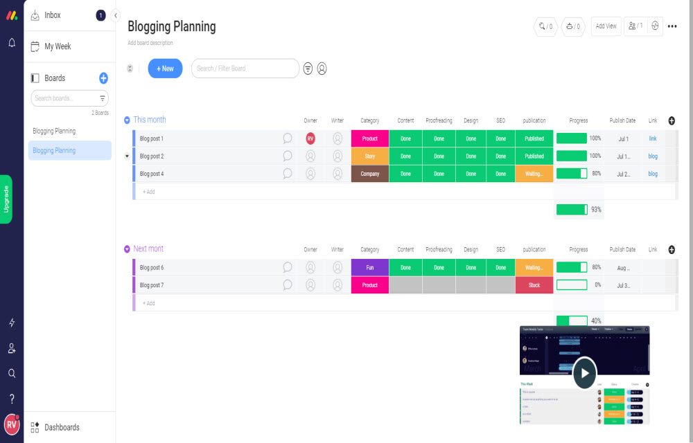 Blogging planning template in monday.com