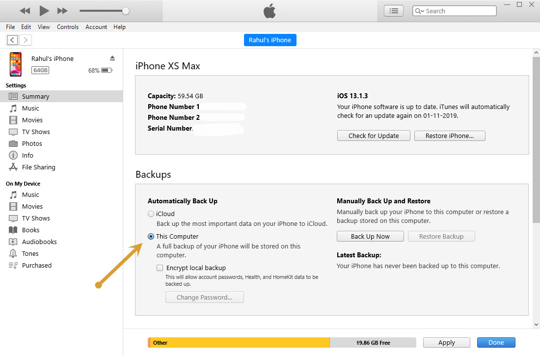 Creating a backup of iPhone using iTunes