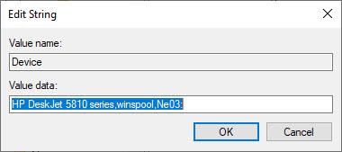 Edit string option to set printer name