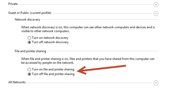 File and Printer sharing options