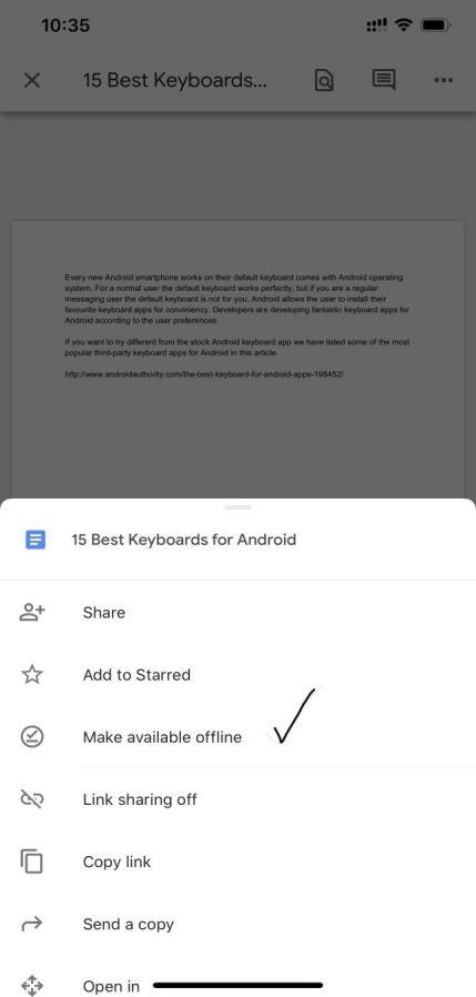 Image of Google Doc making offline in mobile