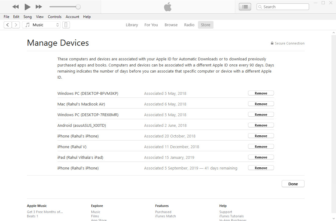List of devices assosiated with iTunes ID