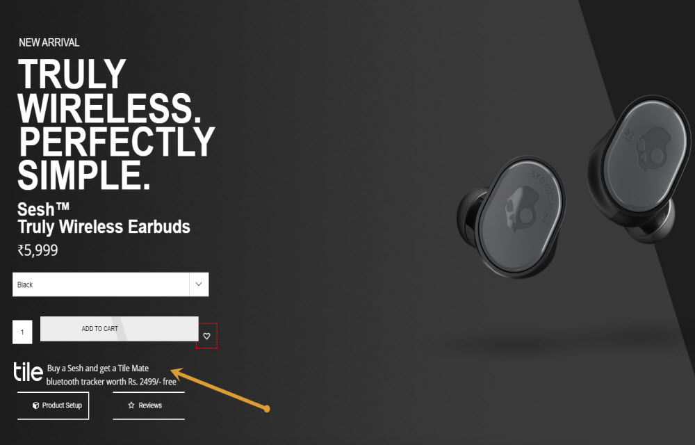 Skullcandy is offering Tile Mate free with purchase of Sesh as festive offer