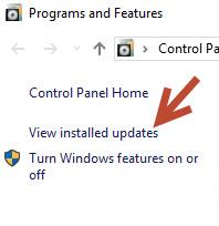 View installed updates in Windows 10